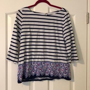 Lilly Pulitzer 3/4 sleeve cotton shirt